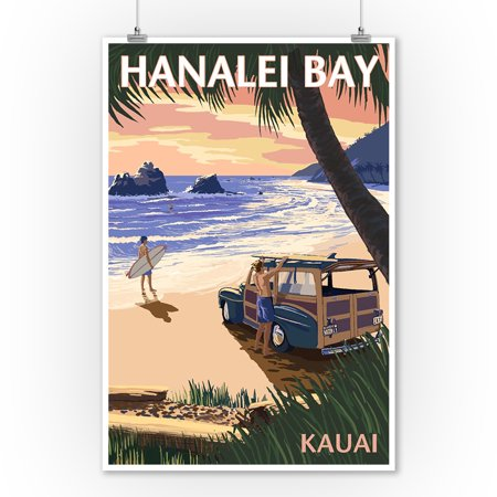 Hanalei Bay, Kauai, Hawaii - Woody on Beach - Lantern Press Artwork (9x12 Art Print, Wall Decor Travel Poster) - Beach Lanterns