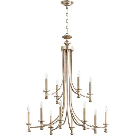 Chandeliers 12 Light With Aged Silver Leaf Finish Candelabra Base Bulbs 32 inch 720 Watts