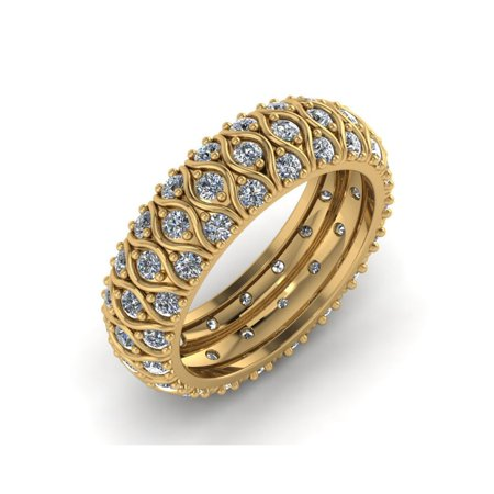 Cut Diamond Ring Band - Natural 4.00Ct Round Cut Diamond 3Row Anniversary Wedding Eternity Band Ring 14k Gold I SI2