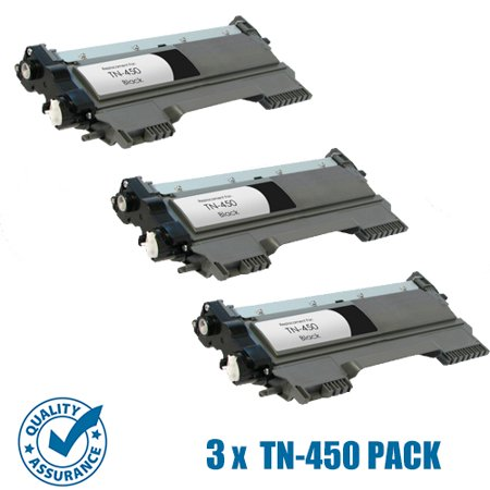 Printer Pro™ 3 Pack Brother TN450/TN-450/TN420 Black Toner Cartridge-Brother Printer HL-2240/2280/DCP-7060/MFC-7360/7860D - image 1 of 1