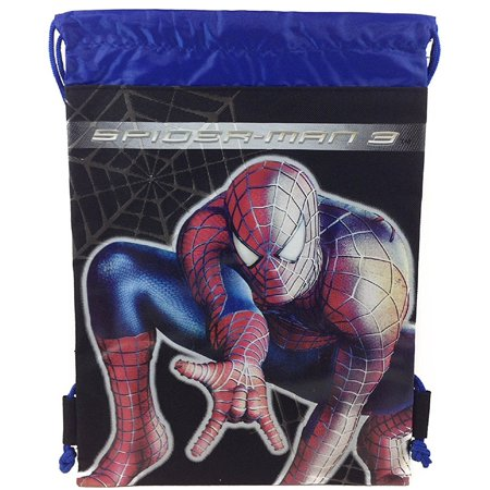 Party Favors - Spiderman - Drawstring Bag - Black (Spiderman Party Bags)