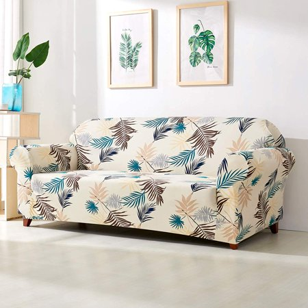 Subrtex 1 Piece Skid Resistance Sofa Cover Furniture Protector Leaves Printed Couch Covers Armchair Slipcover
