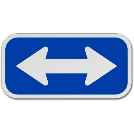 Traffic Signs - White / Blue Double Arrow Sign 12 x 18 Plastic Sign Street Weather Approved Sign Double Down Arrow Sign