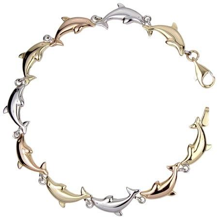 14k Gold-Bonded Sterling Silver Tri-Color 6.35mm Dolphin Link Bracelet, 7.25