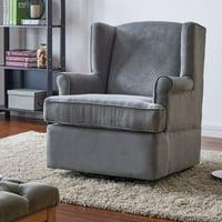 Handy Living  Wingback Grey Microfiber Swivel Glider Arm Chair