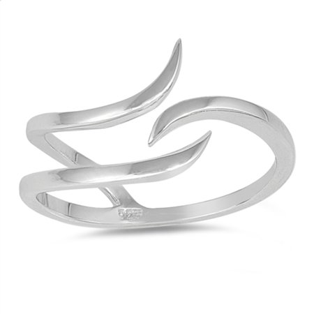 Curved Banana Ring (Open Wave Curve Adjustable Thumb Ring New .925 Sterling Silver Band Size 8 )