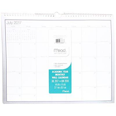 Mead Academic Monthly Wall Calendar  July 2017   June 2018  14 7 8 X 11 7 8  Wirebound  Basic  Cam20107