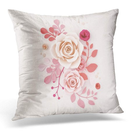 ECCOT Pink Anniversary Flower Craft Abstract 3D Design for Wedding Marriage Birthday Valentine's Day Mothers Pillowcase Pillow Cover Cushion Case 18x18 inch - Cute Mothers Day Crafts