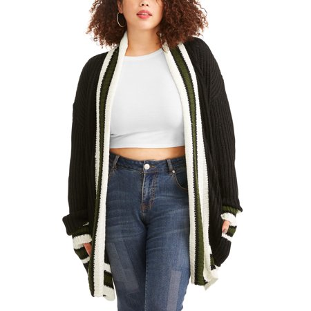 Poof Junor Plus Relaxed Varsity Cardigan Sweater