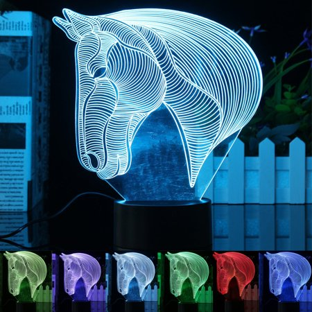 3D Acrylic LED Night Light Horse Head Desk Table Lamp Led Lamps 7 Color Change Bedroom Home Decor Christmas Gifts