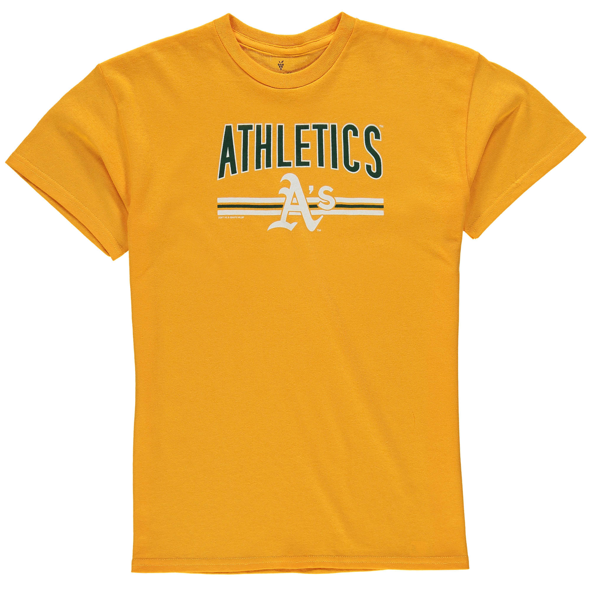 Youth Soft as a Grape Gold Oakland Athletics On Base Crew T-Shirt by SOFT AS A GRAPE
