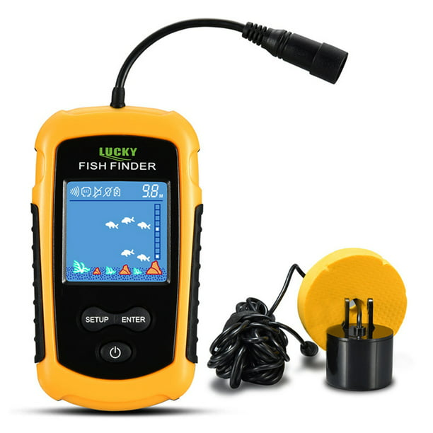 LUCKY LCD Color Screen Portable Wired Fish Finder 100M Depth Range Sonar Echo Sounders Fishfinder