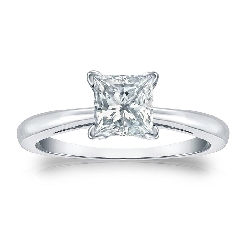 Auriya  GIA Certified 14k White Gold V-End Prong 2.25 ct. TDW Princess-Cut Diamond S