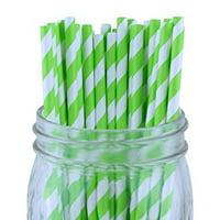 Just Artifacts Decorative Striped Paper Straws (100pcs, Striped, Metallic Rose Gold)