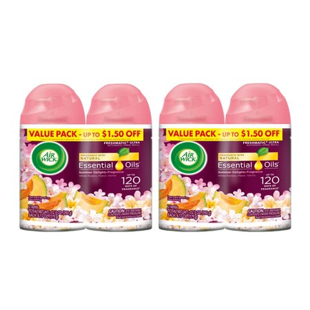 (2 pack) Air Wick Life Scents Freshmatic 4 Refills Automatic Spray, Summer Delights, (4X6.17oz), Air Freshener