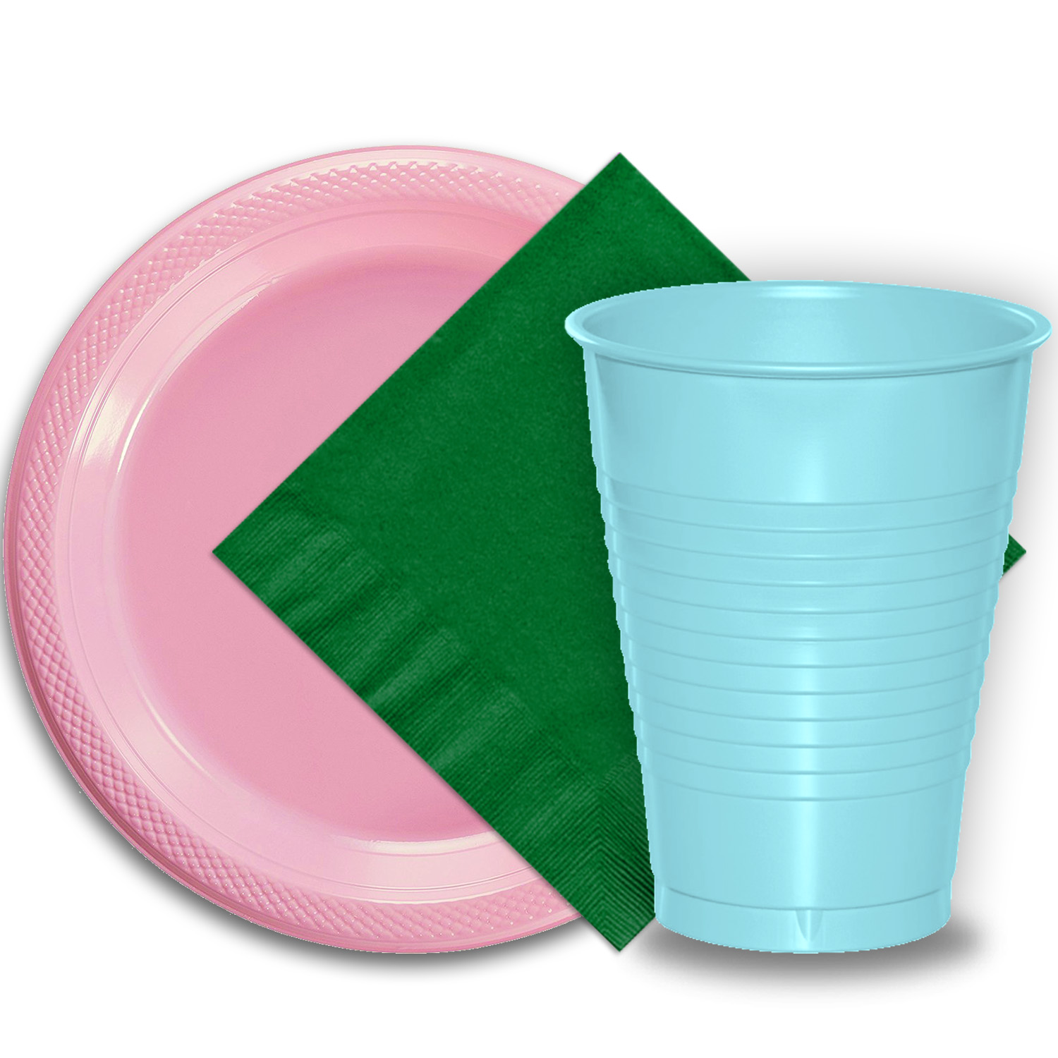 "50 Pink Plastic Plates (9""), 50 Light Blue Plastic Cups (12 oz.), and 50 Emerald Green Paper Napkins, Dazzelling Colored Disposable Party Supplies Tableware Set for Fifty Guests."