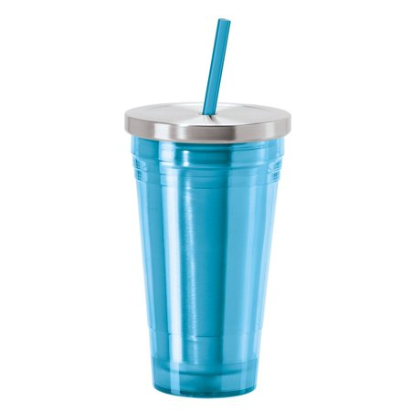 Oggi 7358 Double Walled Acrylic Tumbler with Stainless Steel Liner and AS Drinking Straw