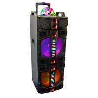 beFree Sound BFS-7777X Dual 12 Inch Subwoofer Bluetooth Portable Party Speaker With LED Lights, USB/ SD Input, Battery, Remote Control And Microphone