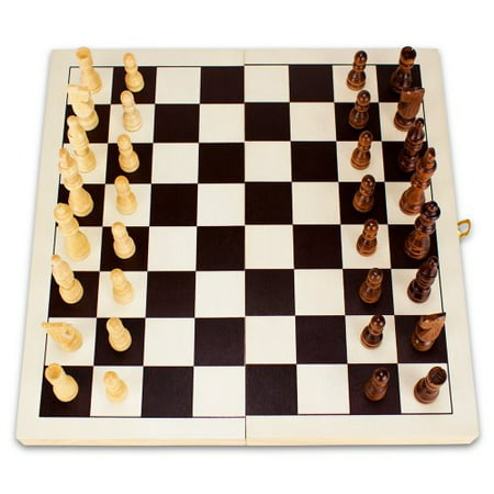 Brybelly Natural Wooden Folding Chess Game with Staunton Wood Carved Pieces, 14-Inch