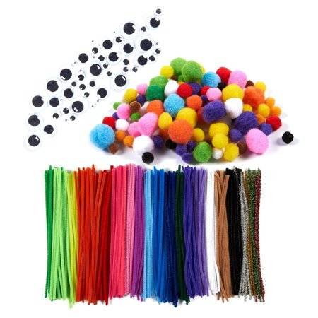 450 Pack Pipe Cleaners Craft Set - Includes Chenille Stems, Googly Eyes & Pom Poms - Assorted Colors &