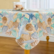 Shell Beach Easy Care Spillproof Vinyl Tablecloth with Polyester Flannel by Elrene Home Fashions