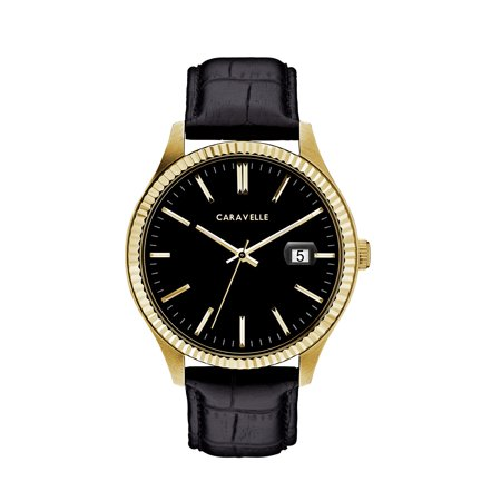 Caravelle Black Dial - Caravelle Men's Black Leather Strap Gold-Tone Stainless Steel Dress Watch 41mm
