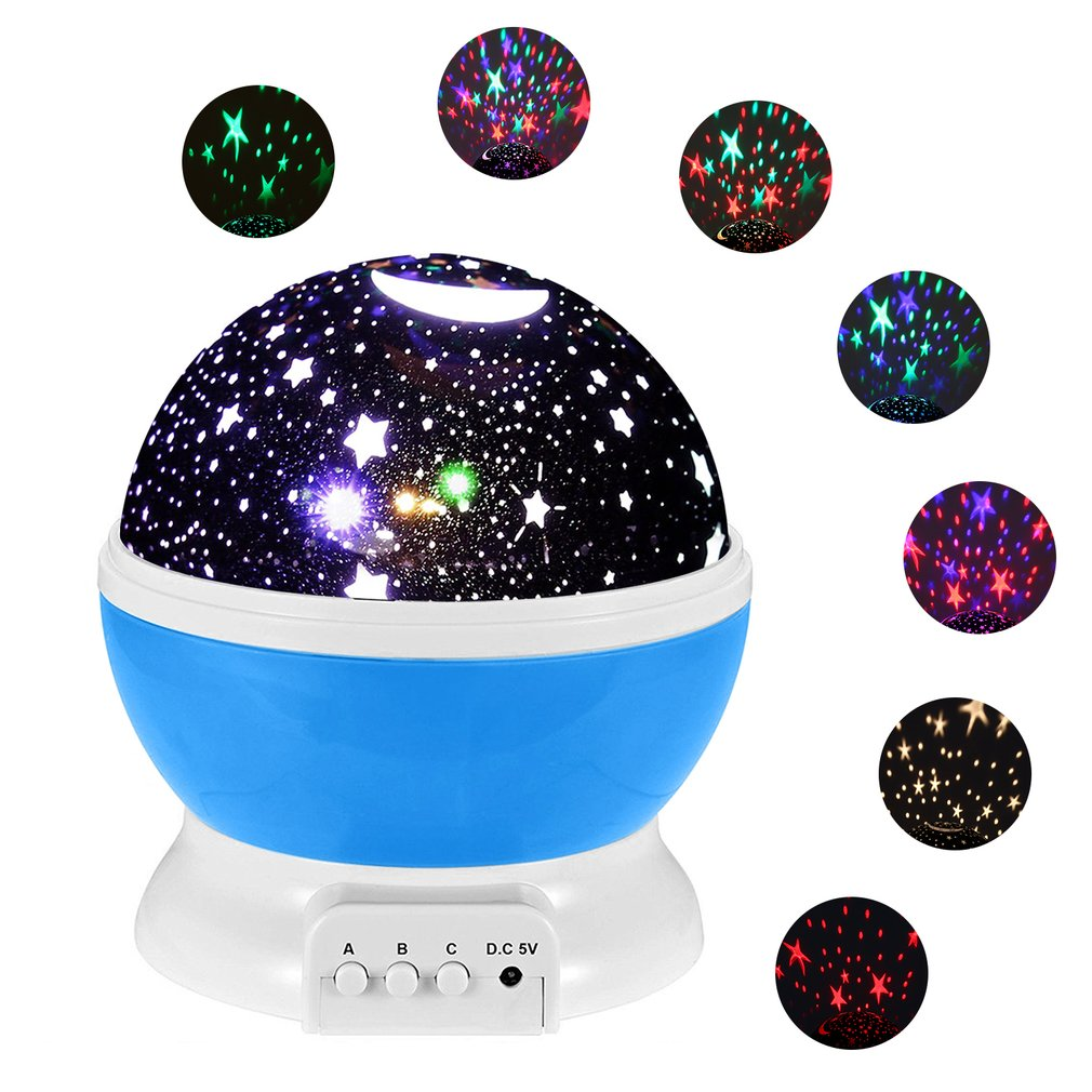 4LED 360 Degree Rotate Romantic Starry Moon Sky Night Lamp Projector for Children Kids Bedroom