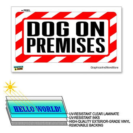 Laminated Sign Sticker - Dog On Premises - 12 in x 6 in - Laminated Sign Alert Warning Business Store Sticker