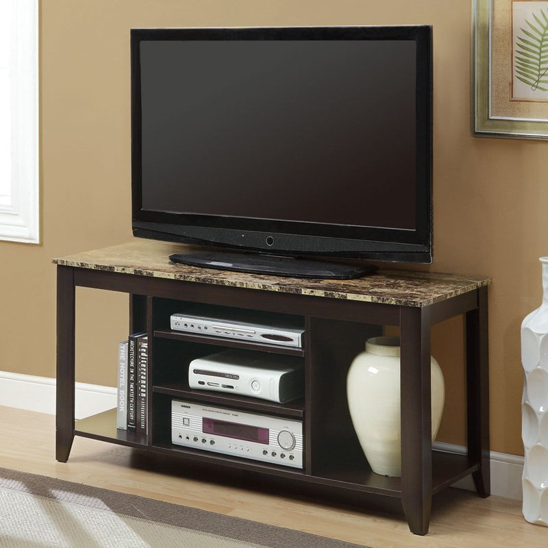 Monarch 48 in. TV Console - Cappuccino with Marble Top