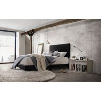 Acme Lien Panel Faux Leather Queen Bed, Black