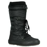Youth-01 Women Waterproof Warm Hiking Snow Rain Winter Mid Calf Drawstring Boot Black