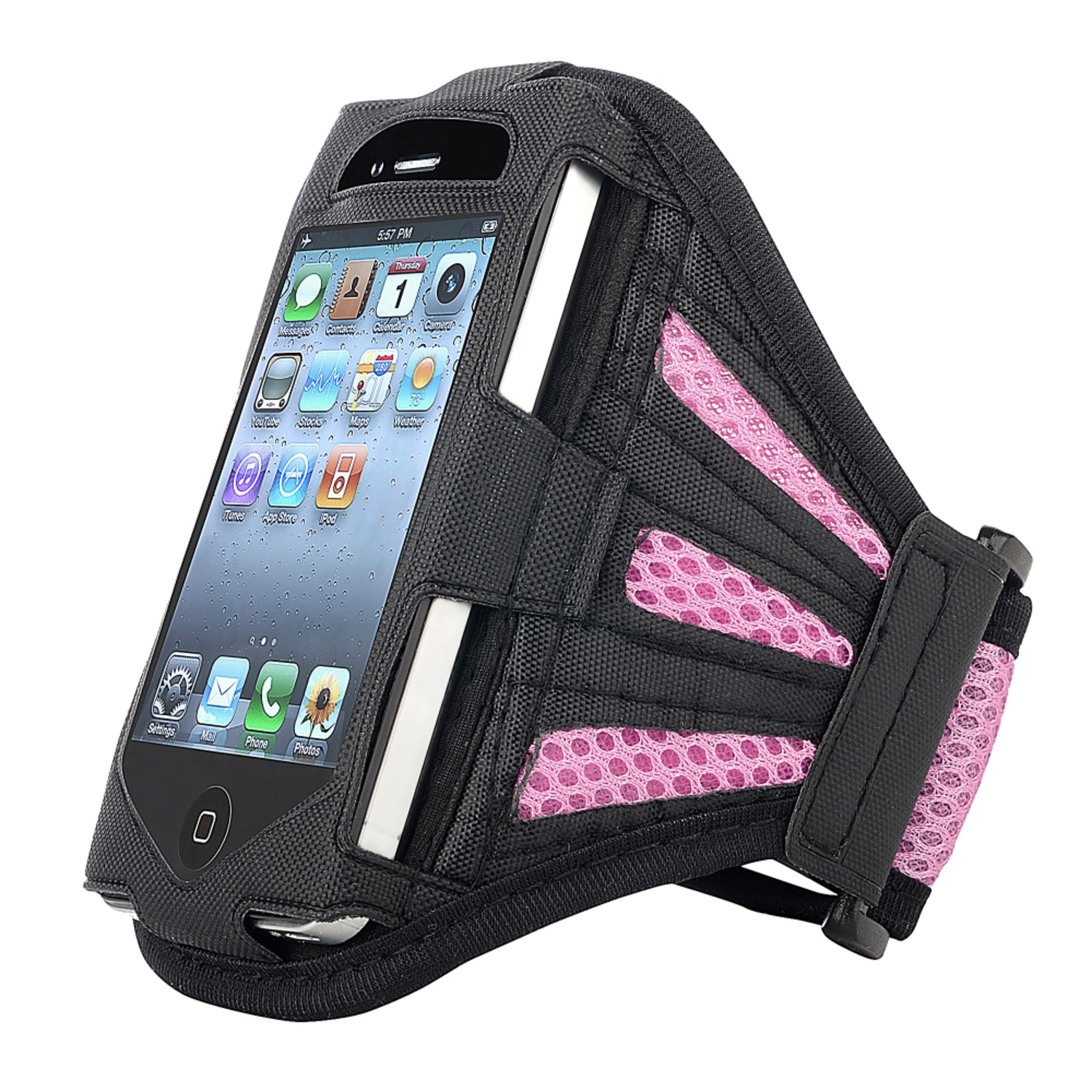 Insten Deluxe Armband For Apple iPhone 4 / 4S / 3G / 3GS / iPod touch, Black / Light Pink