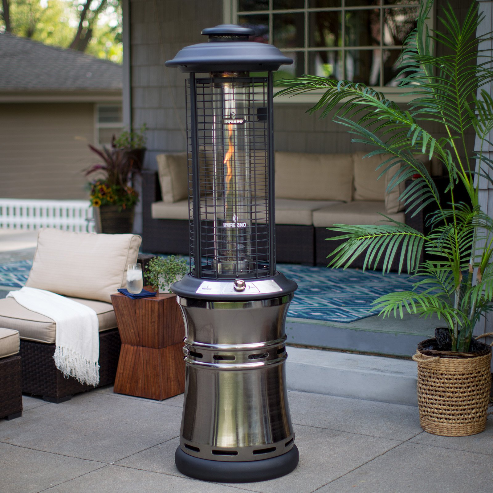 Merveilleux Red Ember Carbon Collapsible Gun Metal Glass Tube Patio Heater
