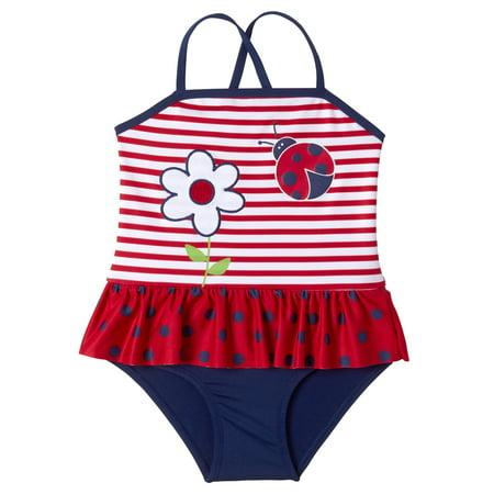Baby Toddler Girl Ladybug Ruffle Tutu One Piece Swimsuit
