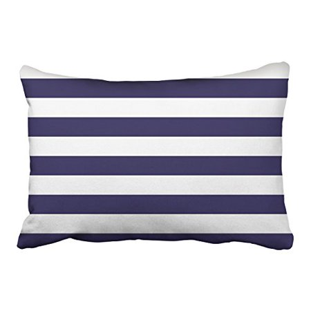 WinHome Navy Blue And White Horizontal Stripes Patterns Decorative Pillowcases With Hidden Zipper Decor Cushion Covers Two Side 20x30 inches ()
