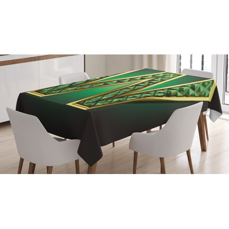 Modern Tablecloth, Golden Figure with Emerald Tones Alluring Color Letter Super Hero Icon Artsy Graphic, Rectangular Table Cover for Dining Room Kitchen, 52 X 70 Inches, Jade Green, by Ambesonne for $<!---->