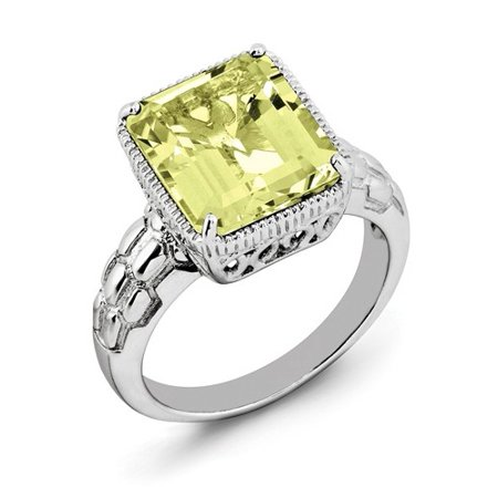 Faceted Lemon Quartz Ring (Sterling Silver Octagonal Lemon Quartz Ring. Gem Wt-)
