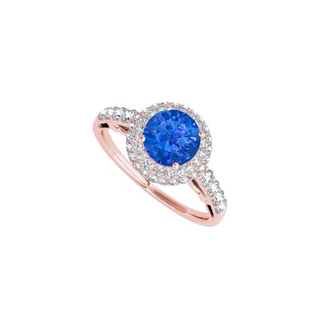 Halo Engagement Ring with Sapphire and CZ 1.50 CT TGW - image 2 de 2