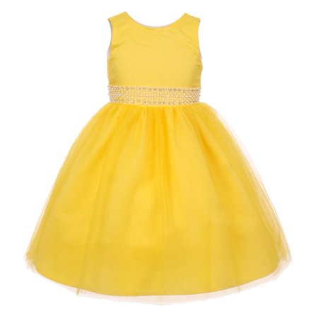 Sparkly Dresses For Kids (Rain Kids Little Girls Yellow Sparkly Tulle Pearls Occasion Dress)