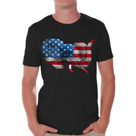 Patriotic Elephant - Awkward Styles American Flag T-shirt Tops for Men Elephant Stars and Stripes USA Flag Shirts Men's Patriotic Outfit Perfect for 4th Of July Party Independence Day Gifts for Him Elephant Tee Shirt