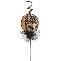 "23"" Creepy Burlap Pumpkin Head on a Stick Halloween Decoration"