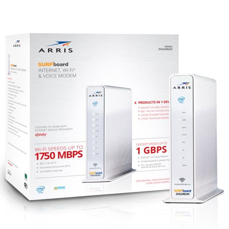 ARRIS SURFboard SVG2482AC (24x8) Cable Modem Router & Voice, DOCSIS 3.0 | AC1750 Dual-Band | Certified for XFINITY and XFINITY Telephone Only Compatible Wireless Modem Jack