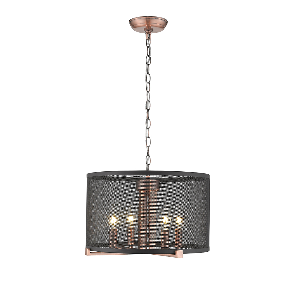 OVE Decors Lancelot III 4-Lights LED Black & Cooper Stain Pendant Light