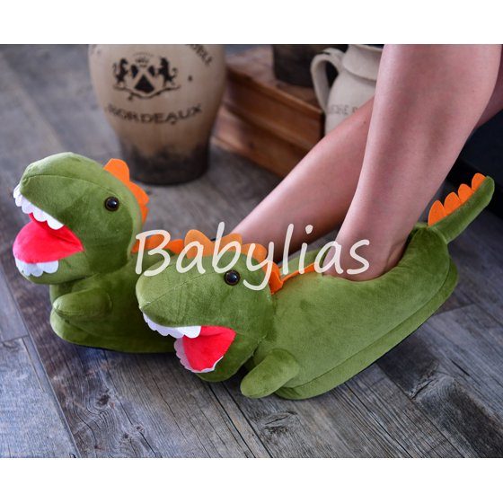 678b9caa091e Dinosaur Slippers T-Rex Plush Soft Warm Winter Shoes Fluffy Unisex ...