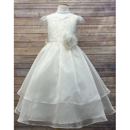 Efavormart Double Layered Lace and Organza Girls Dress Birthday Girl Dress Junior Flower Girl Wedding Party Gown Girls Dress