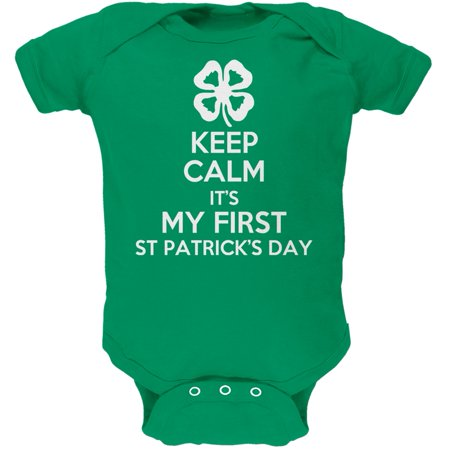 First St Patricks Day Clover Green Soft Infant Bodysuit