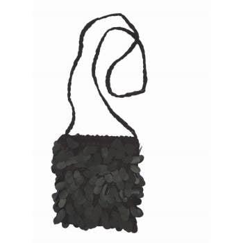SEQUIN FLAPPER BAG-BLACK
