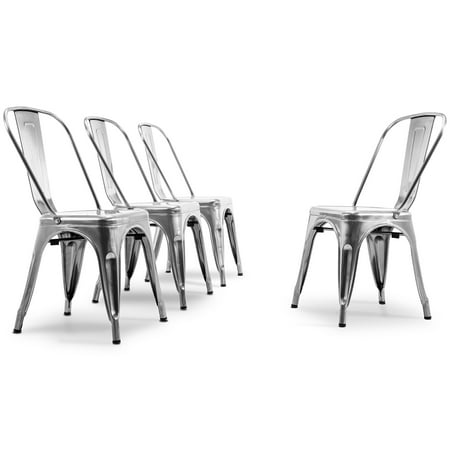 BELLEZE Set of (4pc) Dining Chair Stackable Chic Side Chair Stool Backrest Counter, Gunmetal