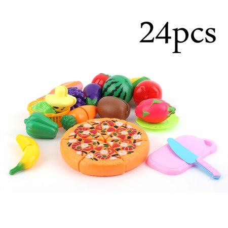 24 Pcs/Set Children Pretend Play Cut Fruit Pizza Food Toys Plastic Kids Kitchen House Toys Early Development
