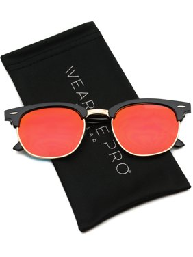 b2b3a2e20a15 Product Image WearMe Pro - Half Frame Retro Semi-Rimless Style Sunglasses  Retro Mirror Lens Sunglasses